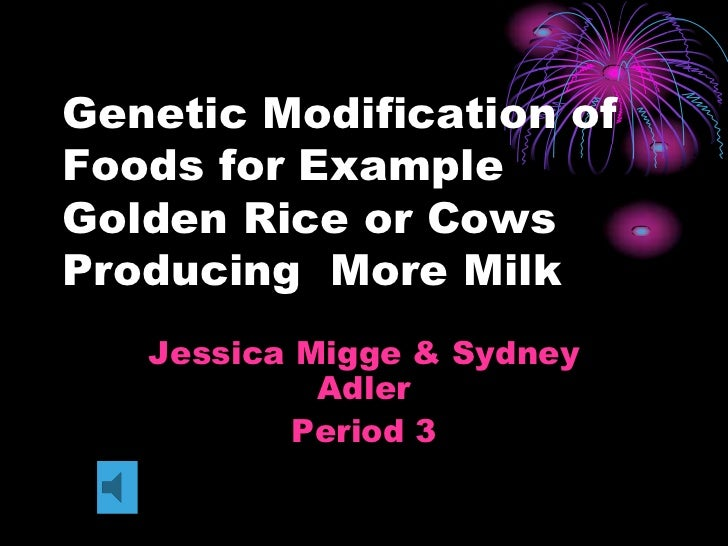 Genetic Modification of Foods for Example Golden Rice or Cows Producing  More Milk<br />Jessica Migge & Sydney Adler<br />...