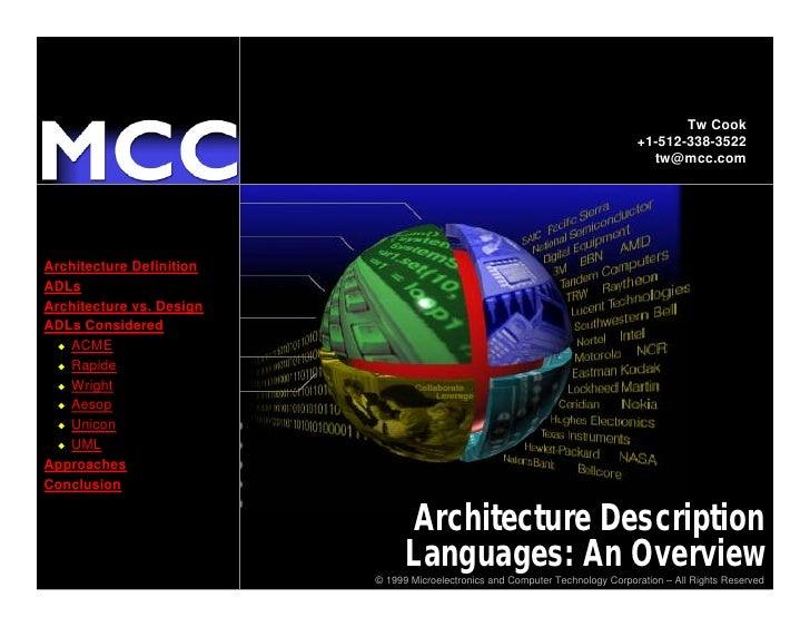 Architecture Description Languages: An Overview