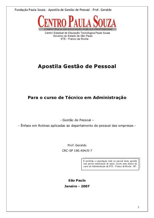 Fundação Paula Souza – Apostila de Gestão de Pessoal – Prof. Geraldo                Apostila Gestão de Pessoal         Par...