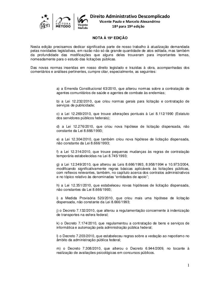 Direito Administrativo Descomplicado                                         Vicente Paulo e Marcelo Alexandrino          ...