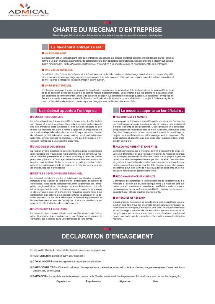 charte Du mecenat D'entreprise                       Réalisée par Admical et ses Adhérents et ouverte à tous les acteurs d...