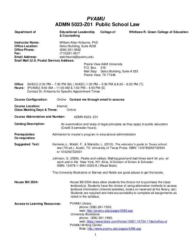 PVAMU                            ADMN 5023-Z01 Public School LawDepartment of                   Educational Leadership    ...