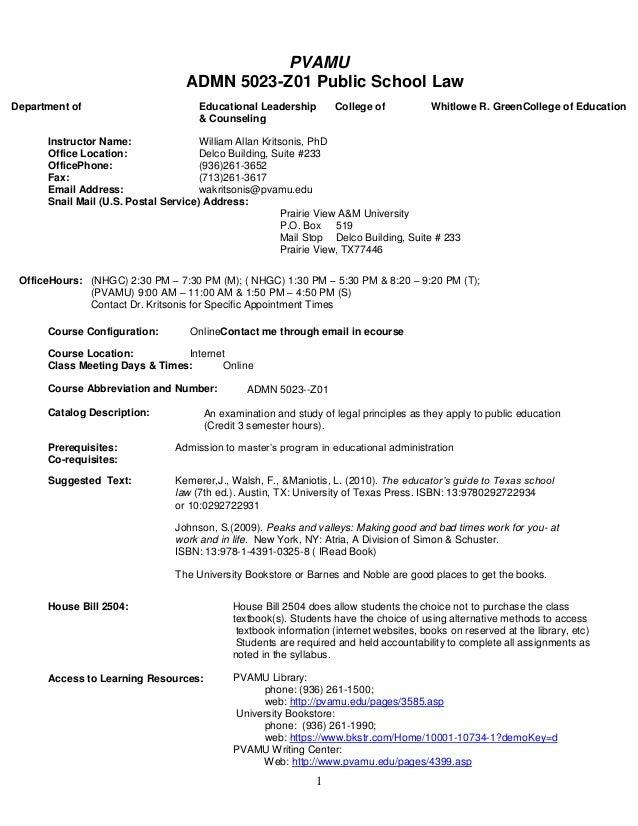 PVAMU                                   ADMN 5023-Z01 Public School LawDepartment of                         Educational L...