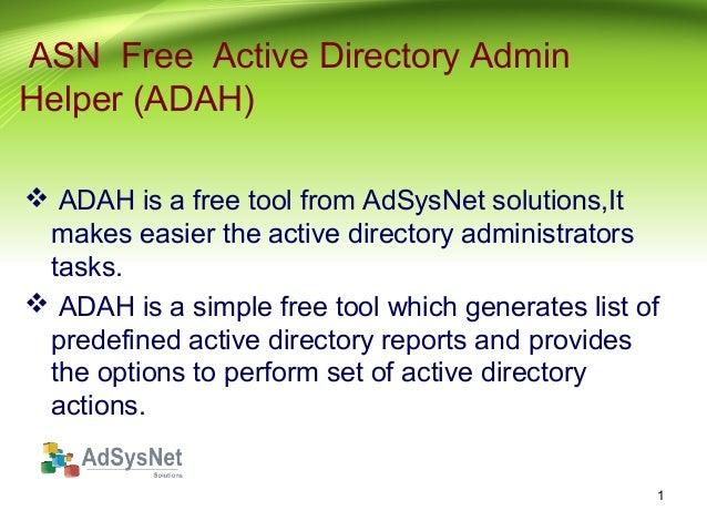 Active Directory Admin Helper | AdSysNet