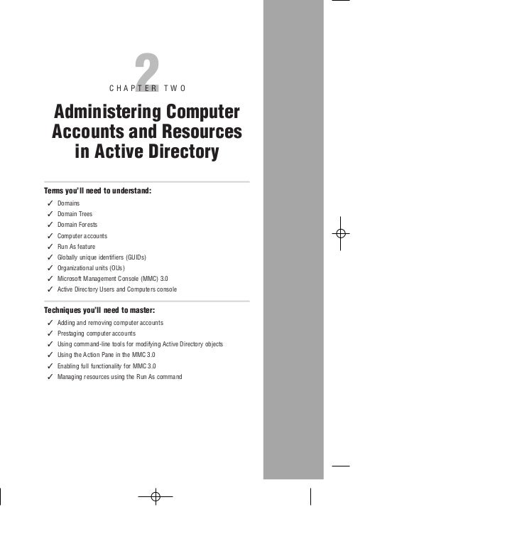 2                        CHAPTER TWO  Administering Computer  Accounts and Resources    in Active DirectoryTerms you'll ne...
