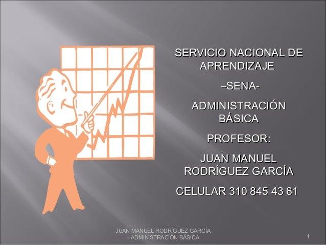 JUAN MANUEL RODRÍGUEZ GARCÍA – ADMINISTRACIÓN BÁSICA 1 SERVICIO NACIONAL DESERVICIO NACIONAL DE APRENDIZAJEAPRENDIZAJE ––S...