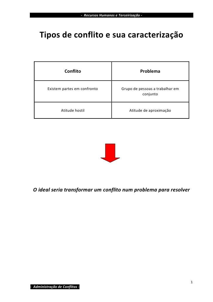 - Recursos Humanos e Terceirização -          Tipos de conflito e sua caracterização                       Conflito       ...