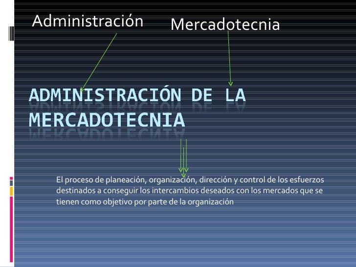 Administración Mercadotecnia El proceso de planeación, organización, dirección y control de los esfuerzos destinados a con...
