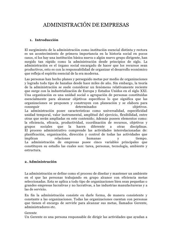 ADMINISTRACIÓN DE EMPRESAS<br />Introducción<br />El surgimiento de la administración como institución esencial distinta y...