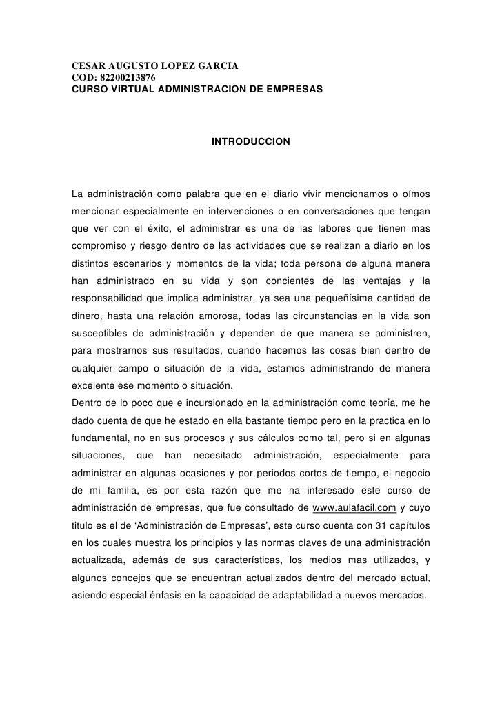 CESAR AUGUSTO LOPEZ GARCIA COD: 82200213876 CURSO VIRTUAL ADMINISTRACION DE EMPRESAS                                    IN...