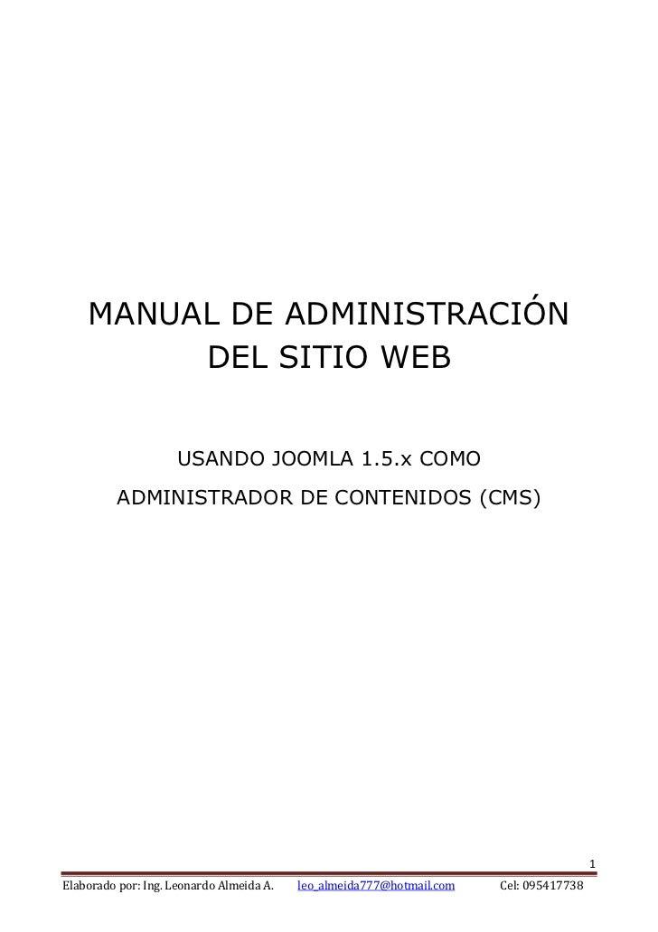 MANUAL DE ADMINISTRACIÓN         DEL SITIO WEB                     USANDO JOOMLA 1.5.x COMO          ADMINISTRADOR DE CONT...