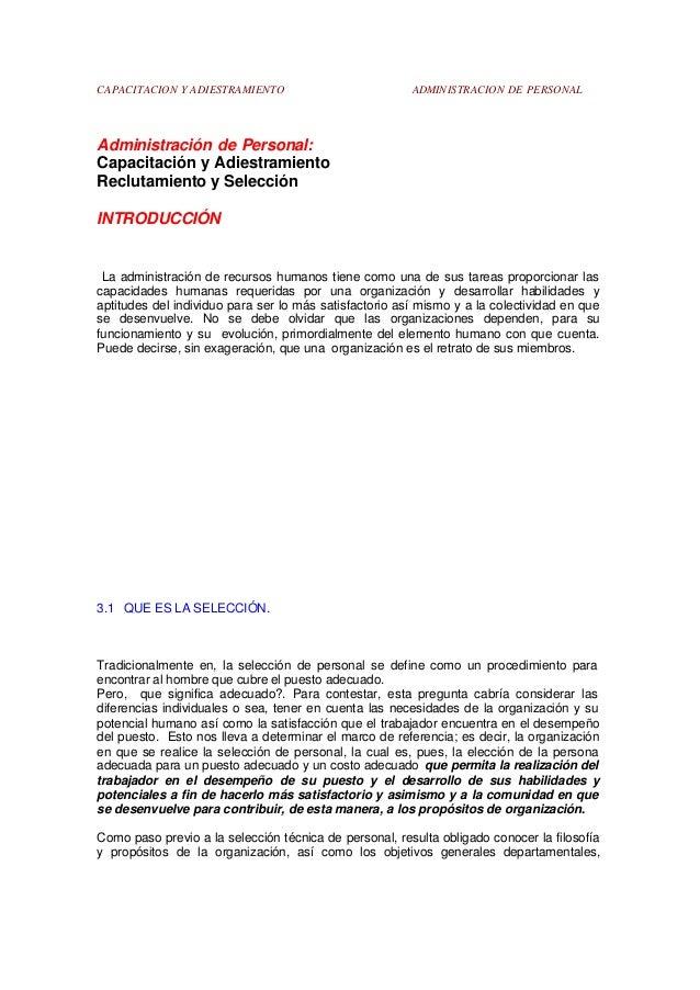 CAPACITACION Y ADIESTRAMIENTO  ADMINISTRACION DE PERSONAL  Administración de Personal: Capacitación y Adiestramiento Reclu...