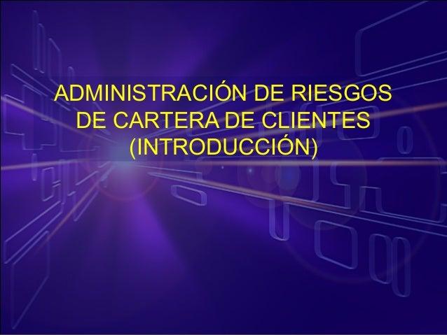 Administración de riesgos en la cartera de clientes (introducción)