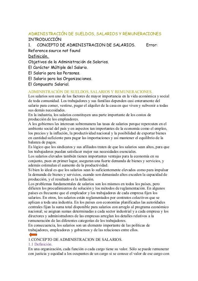 ADMINISTRACIÓN DE SUELDOS, SALARIOS Y REMUNERACIONES INTRODUCCIÓN 1. CONCEPTO DE ADMINISTRACION DE SALARIOS. Error: Refere...
