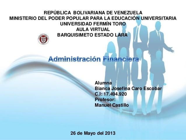 REPÚBLICA BOLIVARIANA DE VENEZUELAMINISTERIO DEL PODER POPULAR PARA LA EDUCACIÓN UNIVERSITARIAUNIVERSIDAD FERMÍN TOROAULA ...