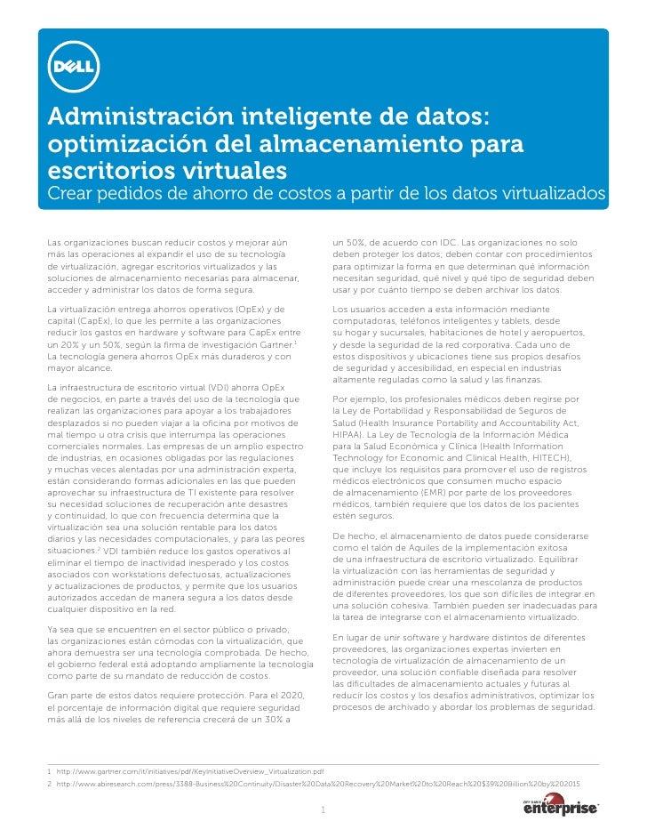 Administración inteligente de datos: optimización del almacenamiento para escritorios virtuales