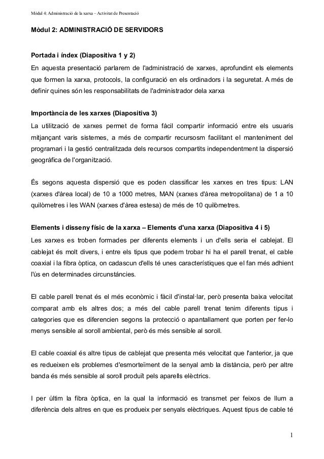ARSO-M4: Administracio de la xarxa - Guio