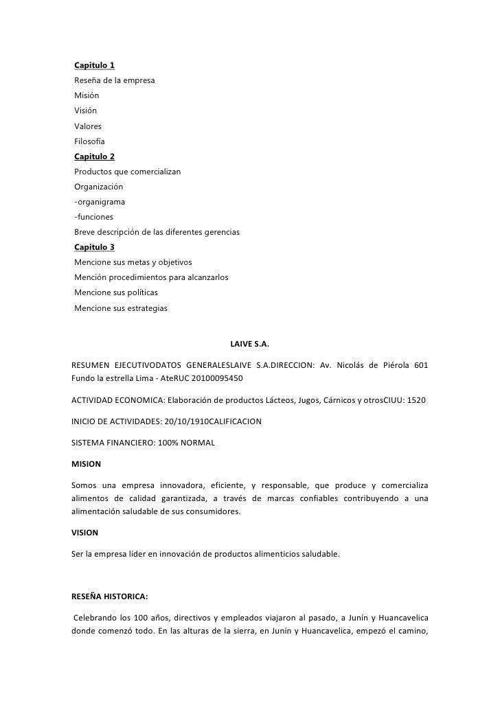 Capitulo 1Reseña de la empresaMisiónVisiónValoresFilosofíaCapitulo 2Productos que comercializanOrganización-organigrama-fu...