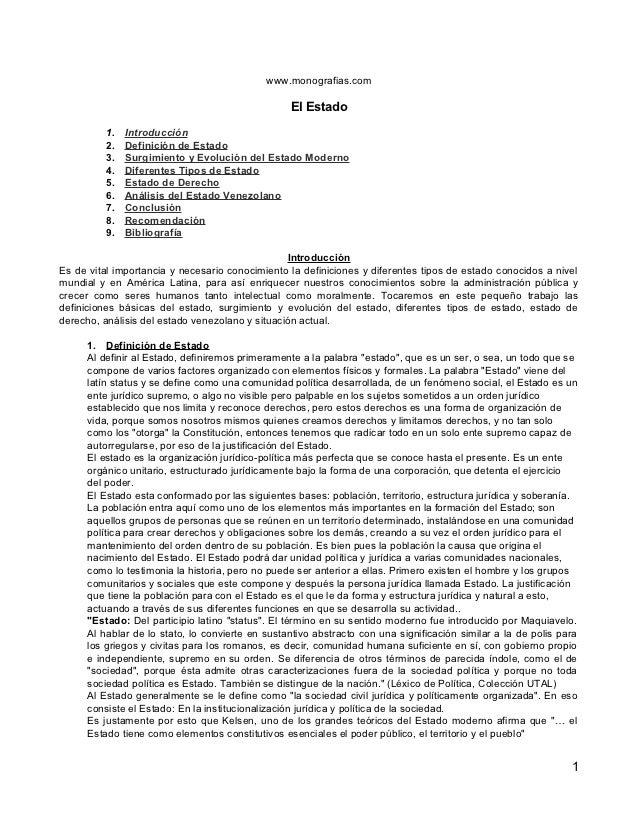 www.monografias.com                                                  El Estado          1.   Introducción          2.   De...