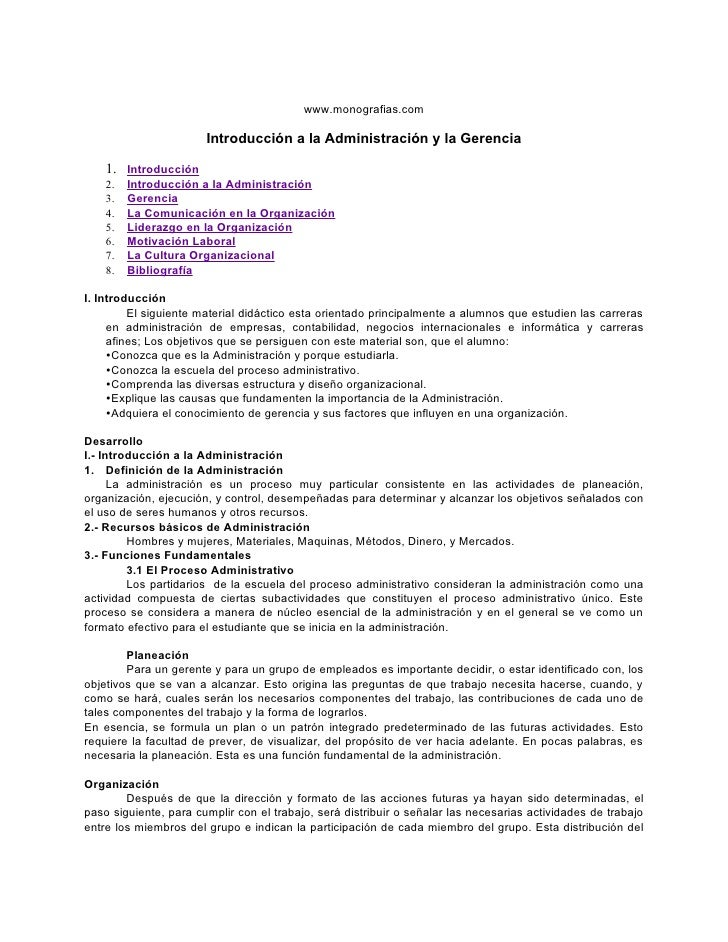 www.monografias.com                       Introducción a la Administración y la Gerencia    1. Introducción    2.   Introd...