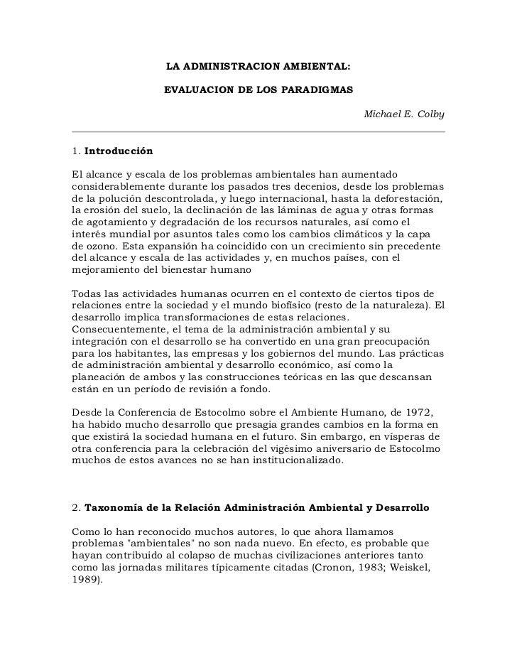 LA ADMINISTRACION AMBIENTAL:                   EVALUACION DE LOS PARADIGMAS                                               ...