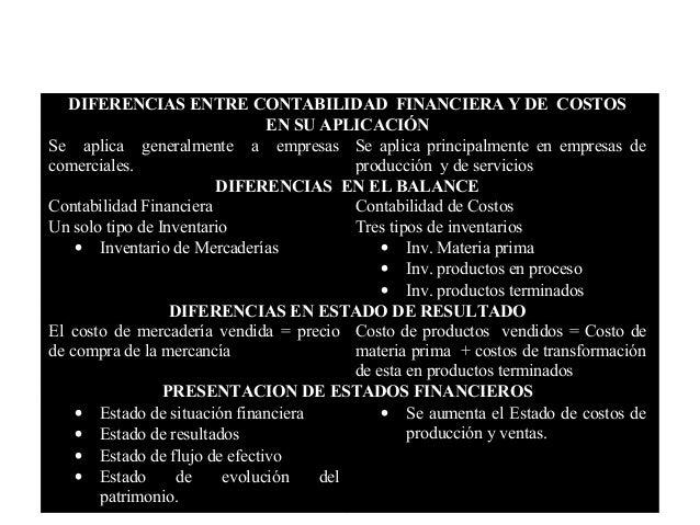 DIFERENCIAS ENTRE CONTABILIDAD FINANCIERA Y DE COSTOS                               EN SU APLICACIÓNSe aplica generalmente...