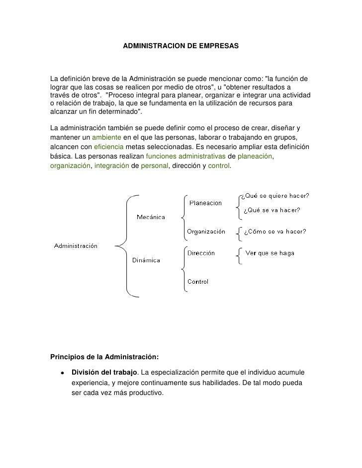 """ADMINISTRACION DE EMPRESAS<br />La definición breve de la Administración se puede mencionar como: """" la función de lograr q..."""