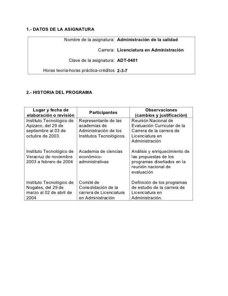 1.- DATOS DE LA ASIGNATURA                   Nombre de la asignatura: Administración de la calidad                        ...