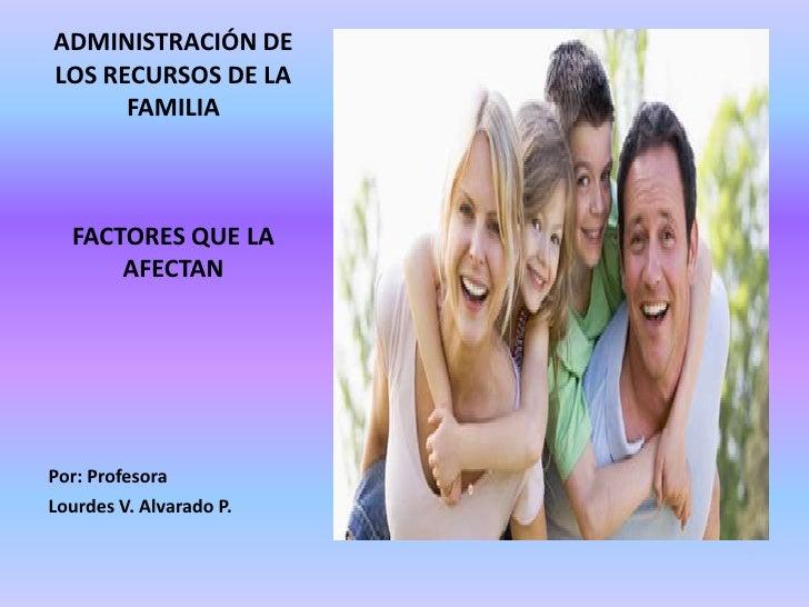 ADMINISTRACIÓN DE LOS RECURSOS DE LA FAMILIA<br />FACTORES QUE LA AFECTAN<br />Por: Profesora<br />Lourdes V. Alvarado P.<...