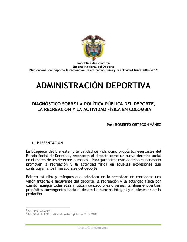 Administracion deportiva diagnostico politica publica colombia