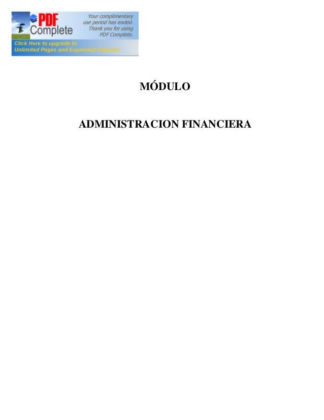 MÓDULO ADMINISTRACION FINANCIERA