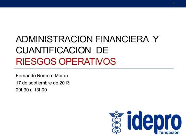 Administracion Financiera y Cuantificación de Riesgos Operativos