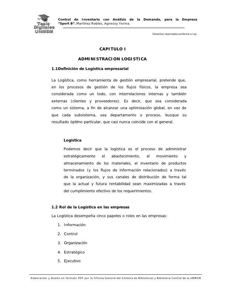 """Control de Inventario con Análisis de la Demanda, para la Empresa                   """"Sport B"""". Martínez Robles, Agnessy Ye..."""