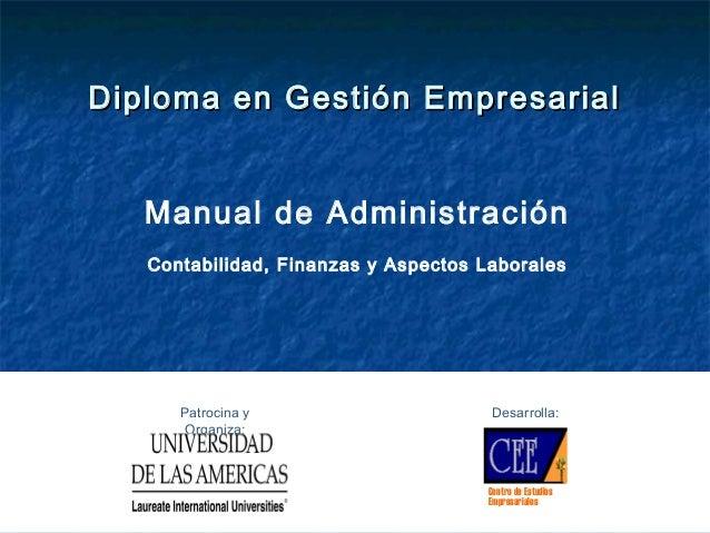 Diploma en Gestión EmpresarialDiploma en Gestión Empresarial Manual de Administración Contabilidad, Finanzas y Aspectos La...