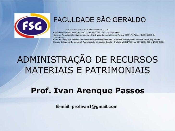 AdministraçãO De Recursos Materiais E Patrimoniais Slidesaulas
