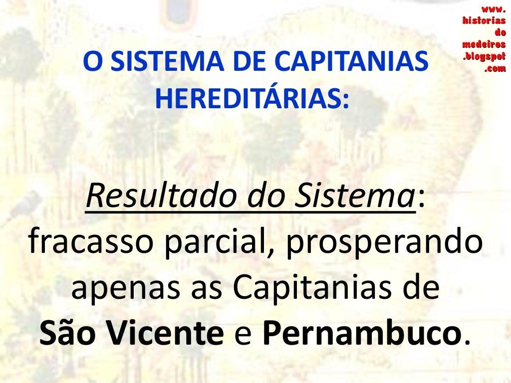 O SISTEMA DE CAPITANIAS HEREDITÁRIAS: Por que o Sistema fracassou? FALTA DE INVESTIMENTOS + DISPERSÃO + RESISTÊNCIA INDÍGE...