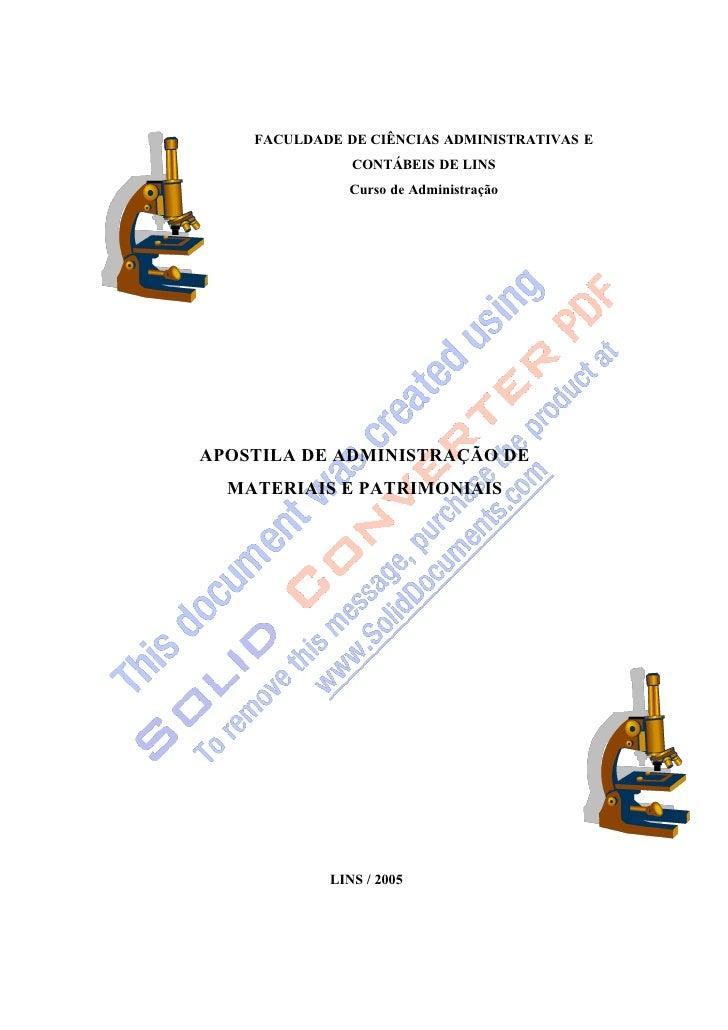 FACULDADE DE CIÊNCIAS ADMINISTRATIVAS E                CONTÁBEIS DE LINS               Curso de Administração     APOSTILA...