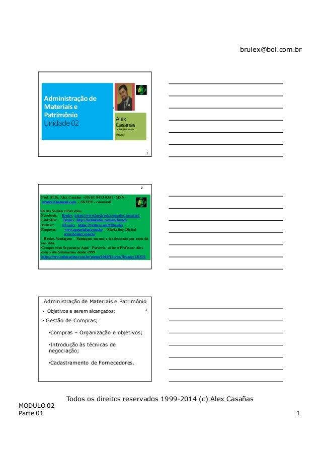 brulex@bol.com.br MODULO 02 Parte 01 1 Todos os direitos reservados 1999-2014 (c) Alex Casañas Revisão de Gestão Ambiental...