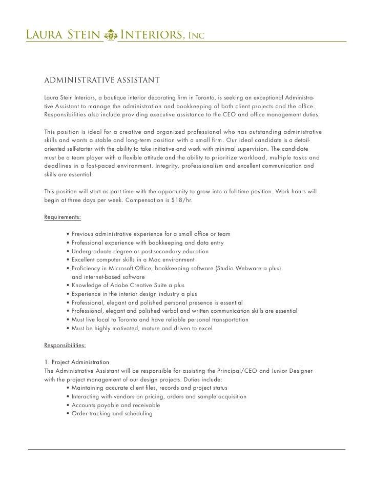 administrative assistant job posting. Black Bedroom Furniture Sets. Home Design Ideas