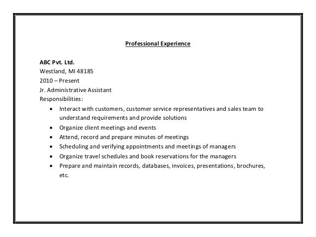 customer service administrative assistant resumes