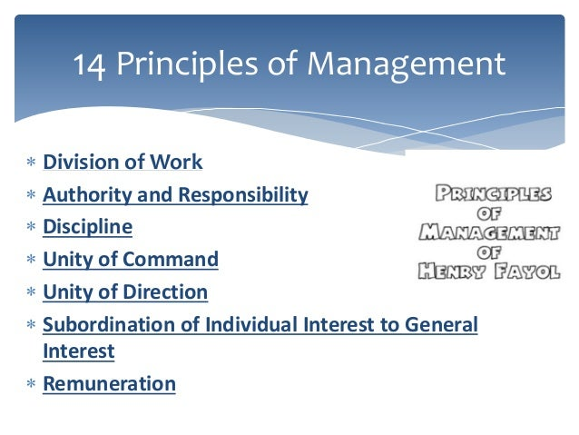 apply henri fayol's five rules of According to henri fayol in his book general and industrial management (1916), there are fourteen 'principles of management' division of work order should be acceptable and under the rules of the company equity - employees must be key roles[edit] fayol also divided the management function into five key roles:.