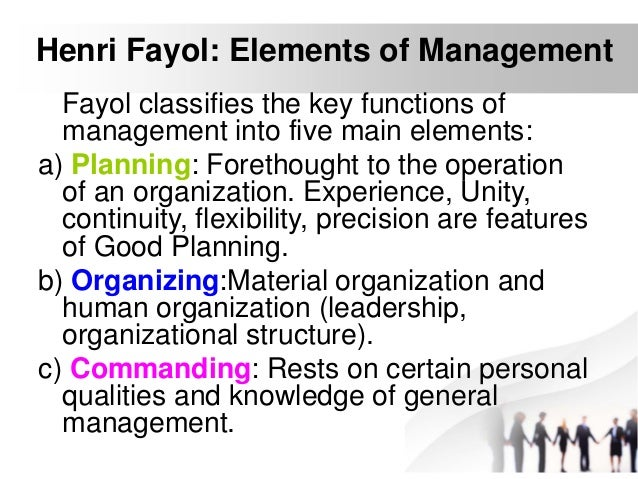 henri fayol 5 functions of managerial jobs Henri fayol, the father of the school of systematic management, was motivated to create a theoretical important were the five functions of management that focused on the key relationships between personnel and its management.