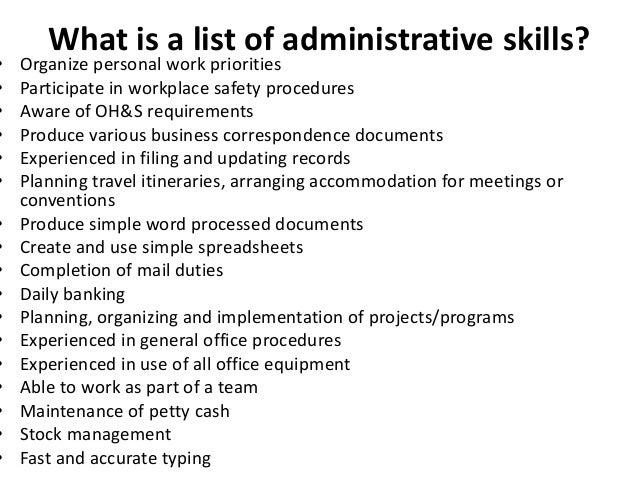 Administrative Skills List For Resume,Administrative Assistant ...