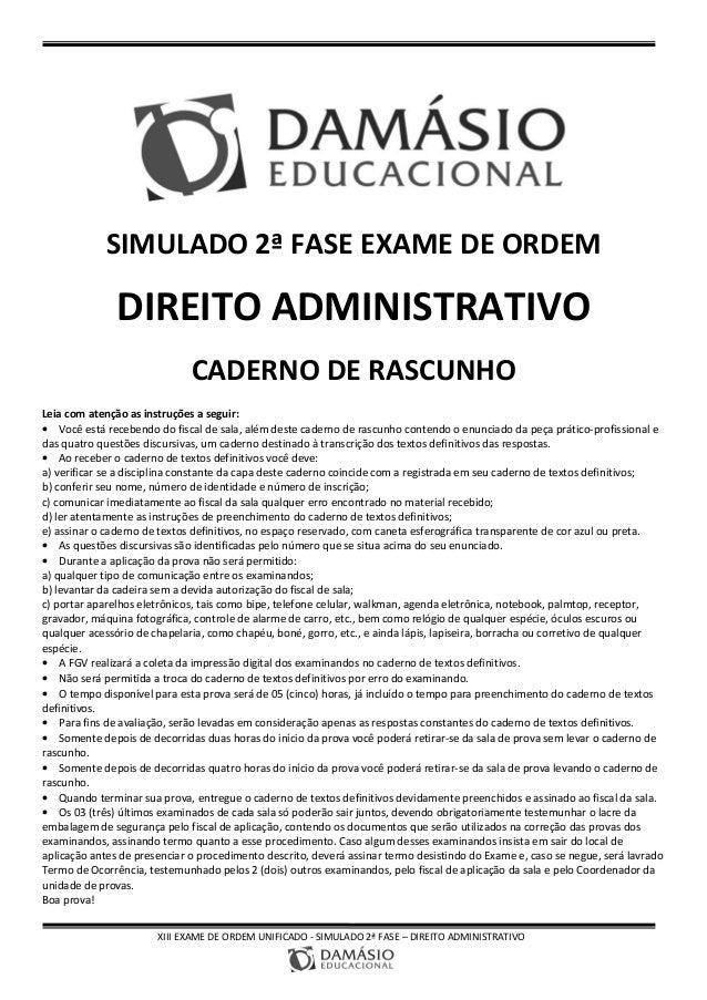 XIII EXAME DE ORDEM UNIFICADO - SIMULADO 2ª FASE – DIREITO ADMINISTRATIVO SIMULADO 2ª FASE EXAME DE ORDEM DIREITO ADMINIST...