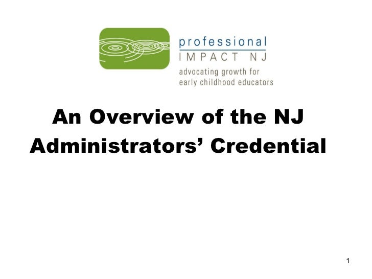 An Overview of the NJ Administrators' Credential