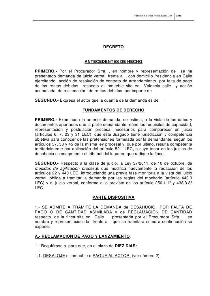 AdmisiÄn a trÅmite DESAHUCIO   AMS                                    DECRETO                          ANTECEDENTES DE HEC...