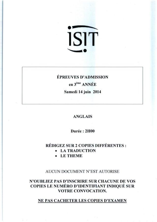 ISIT - Préparer les épreuves d'admission avec les annales 2014 : Anglais 3ème année
