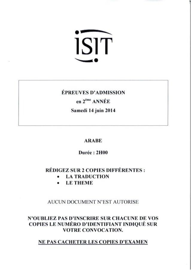 ISIT - Préparer les épreuves d'admission avec les annales 2014 : Arabe 2ème année