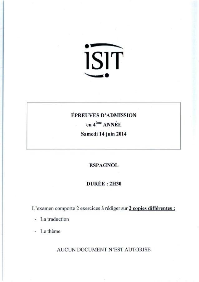 ISIT - Préparer les épreuves d'admission avec les annales 2014 : Espagnol 4ème année