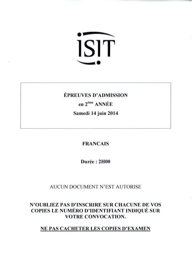 ISIT - Préparer les épreuves d'admission avec les annales 2014 : Français 2ème année